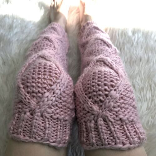 Pink Cable Knit Leg Warmers Crochet Legwarmers Sweater Knee Socks Thick Warm Psy