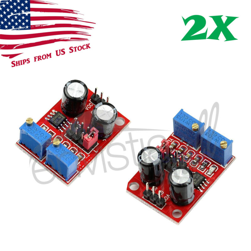 2Pcs NE555 Duty Cycle Pulse Frequency Adjustable Square Wave Generator Module 2X