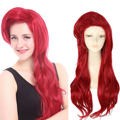 The Little Mermaid Ariel Cosplay Wig Princess Long Dark Red Styled Wavy Hair - Ariel Little Mermaid Wig