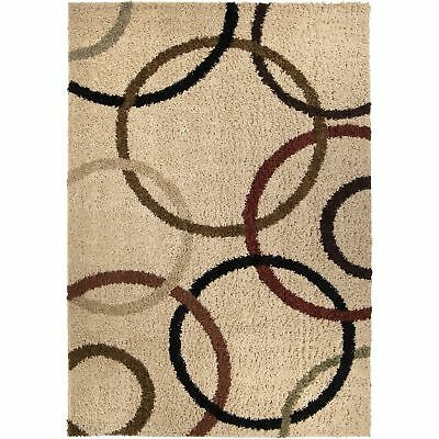 Orian Rugs Impressions Shag Collection Circle Design Bisque Area Rug