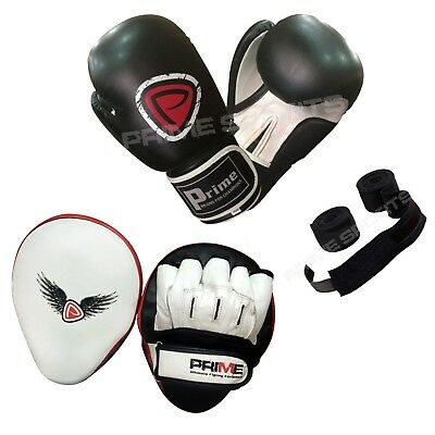 BOXING GLOVES SPARRING TRAINING PUNCH BAG REX LEATHER FOCUS PADS HAND WRAPS SET (Boxing Training Bag)