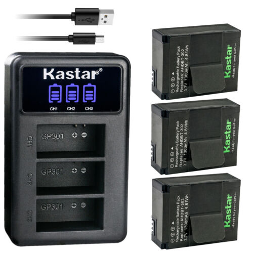 Kastar AHDBT-302 301 Battery 3-Pack + Triple USB Charger for GoPro HERO3 HERO3+