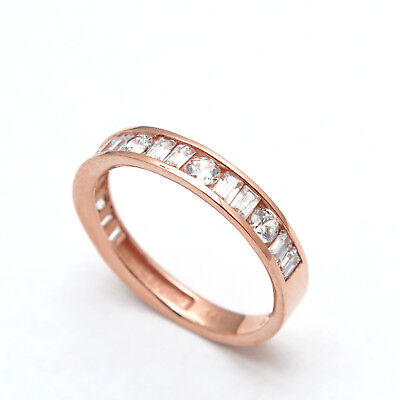- 0.80CT BRILLIANT ROUND BAGUETTE CREATED DIAMOND RING SOLID 14K GOLD CHANNEL BAND