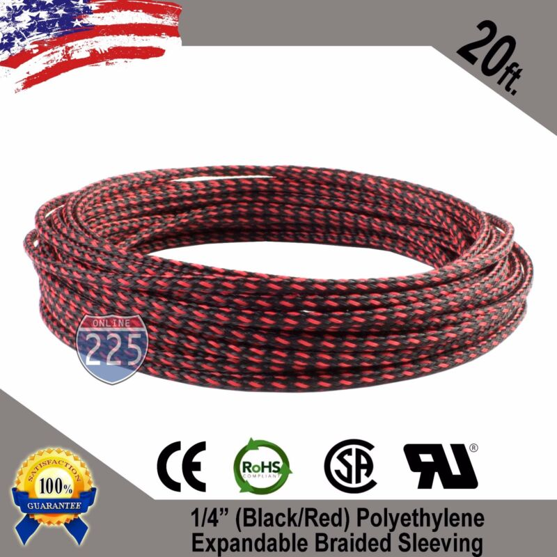 """20 FT 1/4"""" Black Red Expandable Wire Sleeving Sheathing Braided Loom Tubing US"""