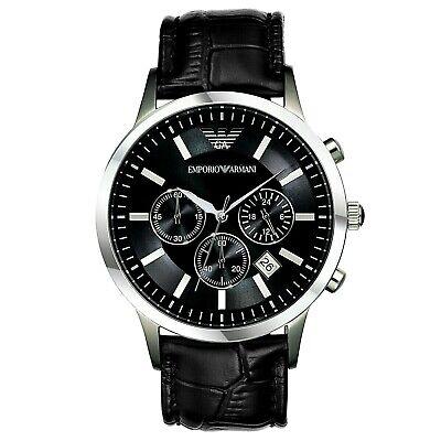 New Emporio Armani Men's Watch AR2447 Chronograph Black Dial Leather Silver dial