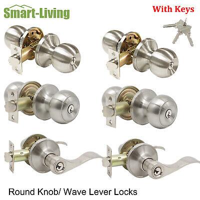 Brushed Nickel Keyed Entry Entrance Door Knob Handles Lockset Leverset with Keys