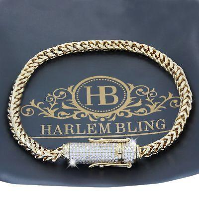 "Men's 4mm Franco Link Bracelet 14k Gold Plated *1ct VVS Lab Diamond Clasp* 8"" 9"""