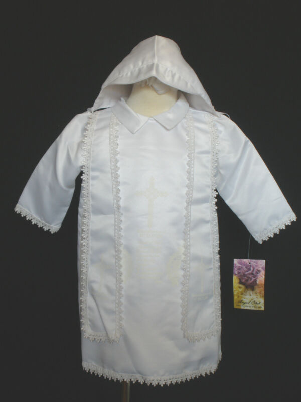 Baby Boy Toddler Church Christening Baptism Gown White for New Born to 24 Months