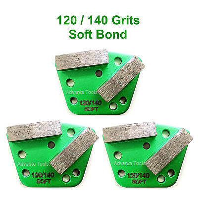 3pk Trapezoid Htc Style Grinding Shoe Disc Plate - Soft Bond - 120140 Grit