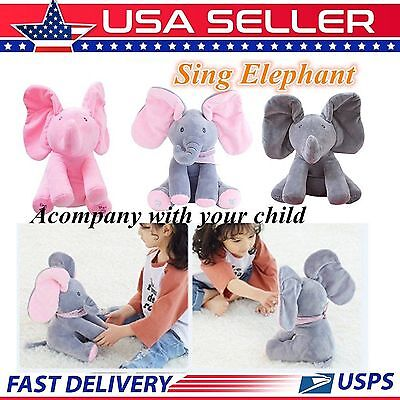 Animated Singing Elephant Stuffed Baby Toy Peek A Boo Plush Animal Play Music Qs