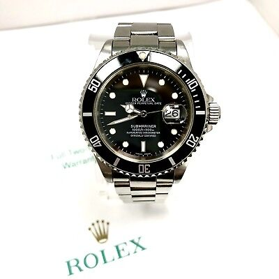 ROLEX OYSTER PERPETUAL DATE SUBMARINER 1000ft=300M Men's Watch Box & Papers