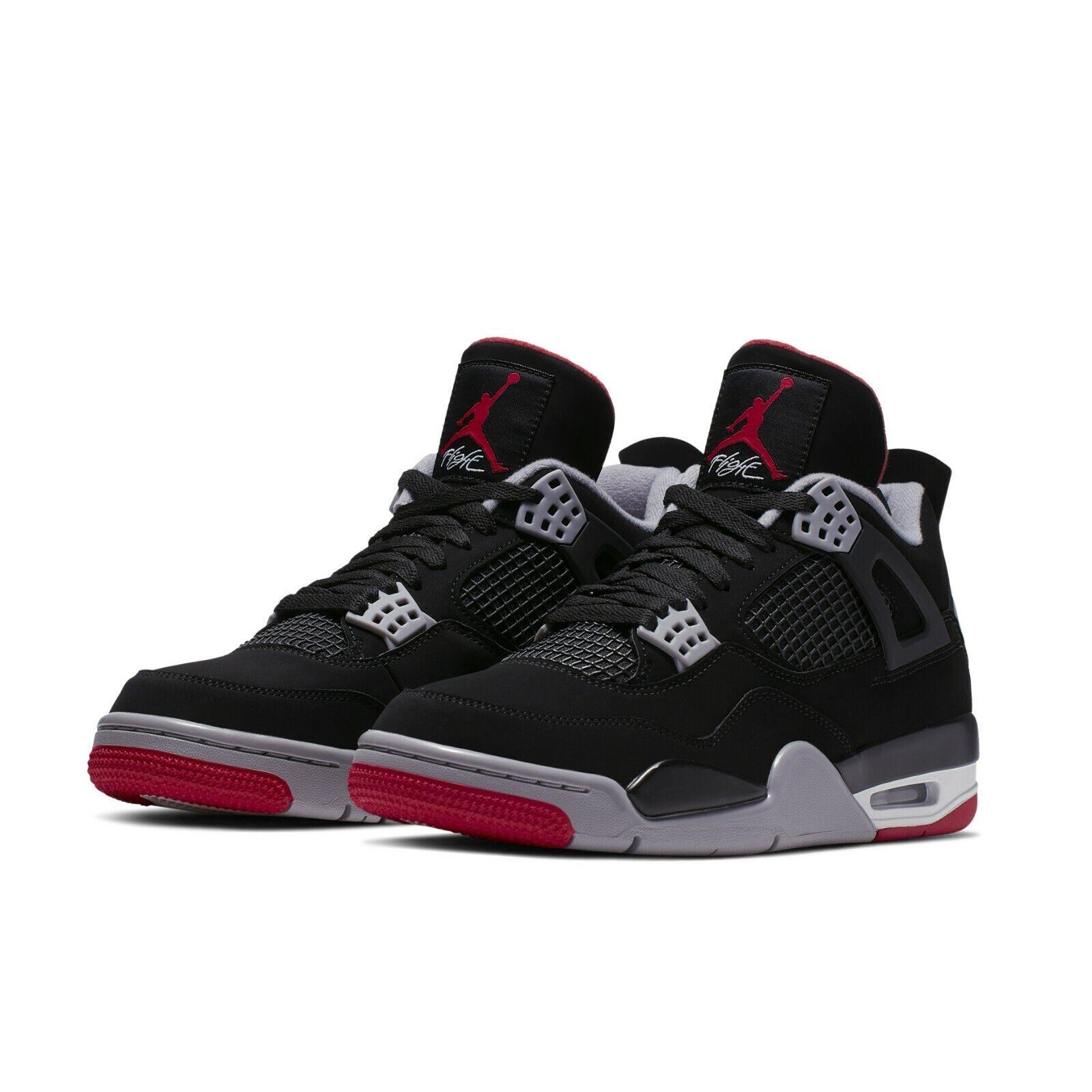 on sale dad5b f3752 Jordan 4 Bred Red Nike Mens Air 2019 Iv Aj4 Retro Og Black ...