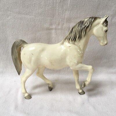Breyer Molding Co prancing white male toy horse w/ grey mane & tail