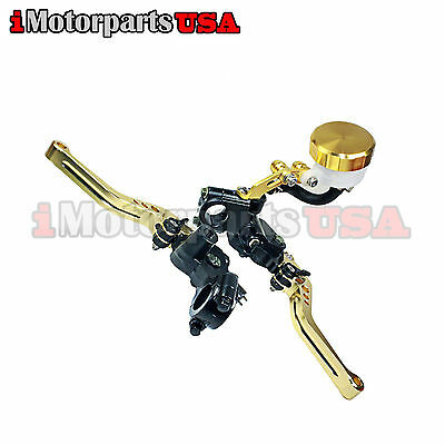 GOLD SHORTY CLUTCH BRAKE LEVERS W/ MASTER CYLINDER SUZUKI GSXR 600 750 1000
