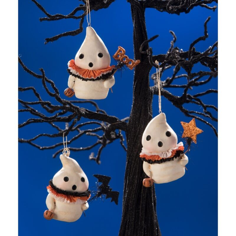 Bethany Lowe Set Of 3 Different Little Boo Ghost Ornaments MA9267