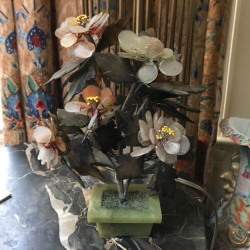 "Vintage Jade Bonsai Hardstone Gemstone Tree  Plant in jade pot 9 1/2"" h x 6 1/2"""