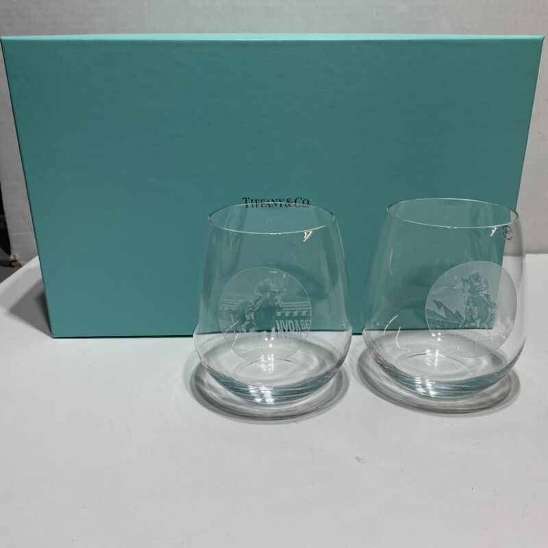 Set 2 New Tiffany & Co.Crystal Stemless Wine Glasses w/ Box Horses Etched