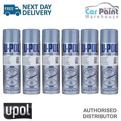 6 x U-POL Power Can Grey Primer Filler 500ml Aerosol Spray Cans UPOL Powercan