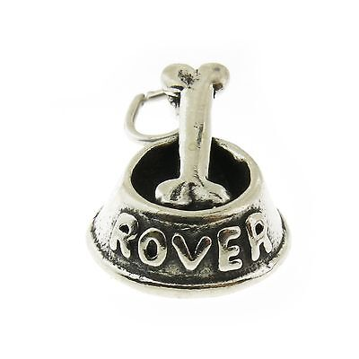 925 Sterling Silver Dog Bowl with Bone Charm Made in USA
