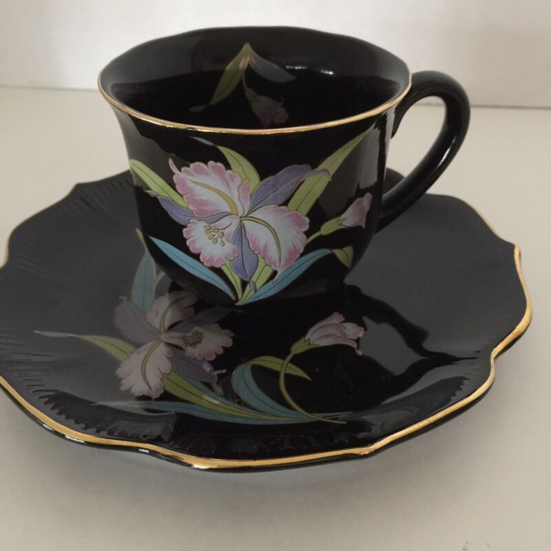 Otagiri Cup And Saucer Black Orchid Gold Trim Green Pink Blue Lotus-Shape Saucer