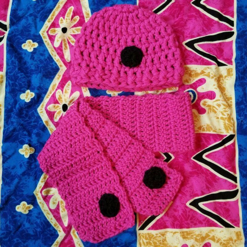 Handmade Pink & Black Baby Crochet Beenie Winter/Fall Hat Scarf Set
