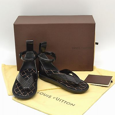 Authentic Louis Vuitton Strap Sandals Flat Shoes Rubber Leather Black #37 Ladies