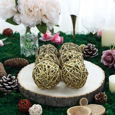 6 pcs 3-Inch Gold Glittered Twig Rattan Balls Orbs Vase Filler Set Wedding - Gold Vase Filler