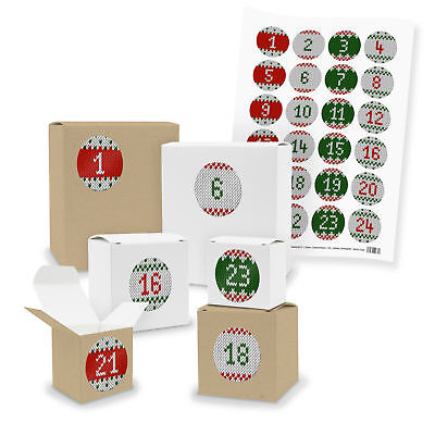 Adventskalender Boxen zum Befüllen WEISS  BRAUN Sticker Strickoptik grün V3Z28