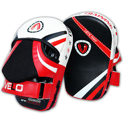Velo Curved Focus Pads Mitts Hook & Jab Punch Bag Kick Boxing Muay Thai Mma