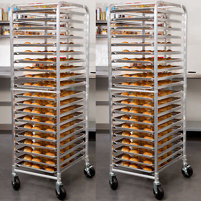 2 Pack 20 Pan End Load Bun Commercial Dough Baking Full Sheet Bakers Bakery Rack