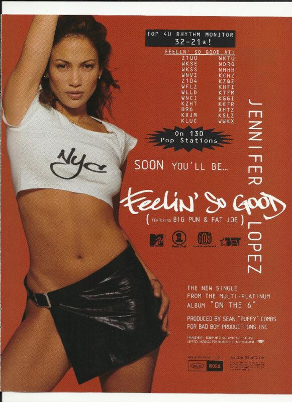JENNIFER LOPEZ Feelin So good TRADE AD POSTER for  On the 6 CD MINT 2000