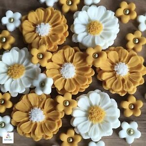 30 Edible Gold Ivory Sugar Wedding Bouquet Flowers Cup Cake Toppers  Decorations