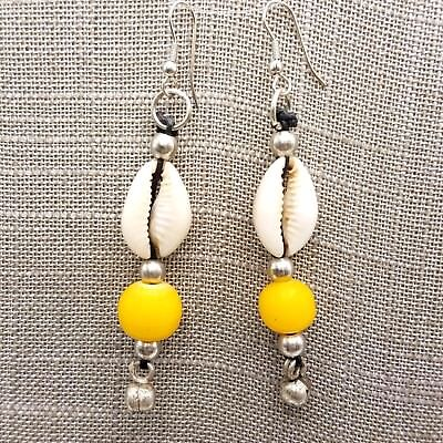 Cowrie Shell Earrings Yellow Accent Beads - Single and Lot Sales African Jewelry