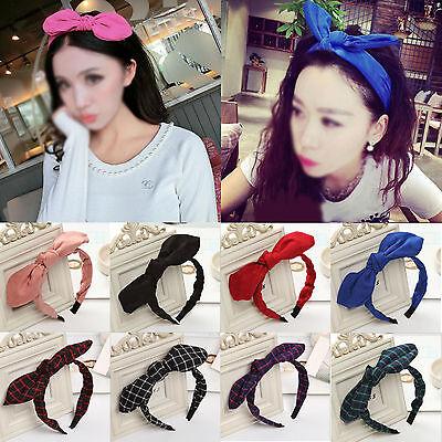 Lady Girls Cute Sweet Big Grid Bow Ribbon Hair Accessory Headband Bow Hair - Big Headbands