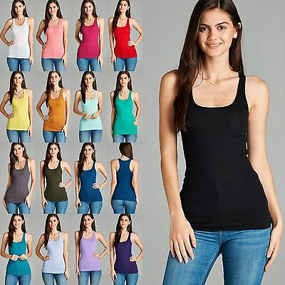 (Women Racer Back Ribbed Tank Top Soft Stretchy Cotton Basic Sleeveless Tee #9121)
