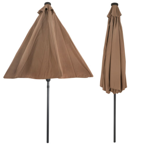 Patio Solar Umbrella 24 LED Lights Sun Shelter Aluminum Umbr