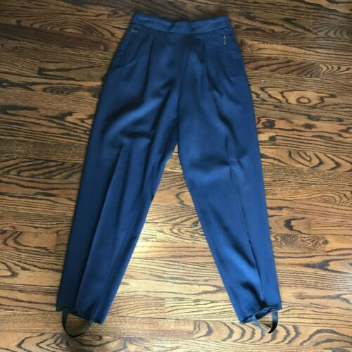Vintage 30s Womens Navy Blue 27x29 M Wool Gabardine Ski High Waist Pants Macwil
