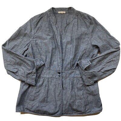 Eileen Fisher Size L Chambray Peplum Stand Collar Light Jacket Retail $198
