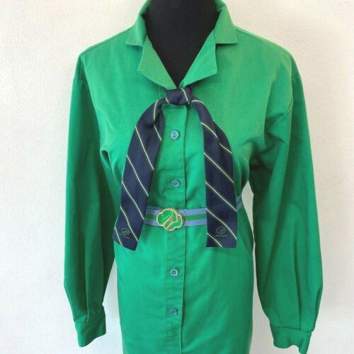 Vintage Girl Scout Troop Leader Uniform Dress size XL 16 Bill Blass Belt Tie DS9