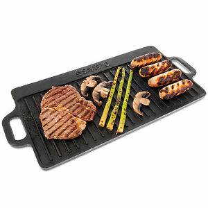 Savisto Large Cast Iron Reversible Non Stick Griddle Plate BBQ & Hob Grill Pan