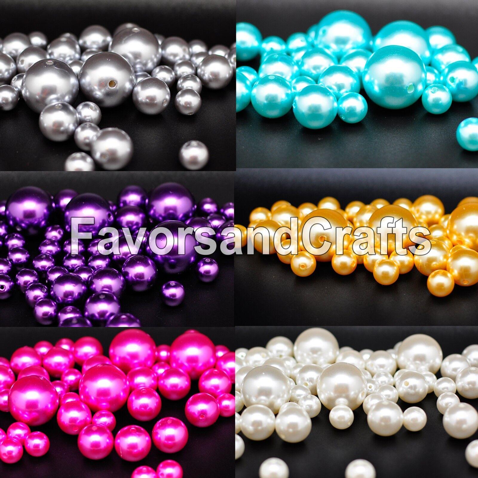 76 Pearl Vase Fillers Balls Clear Pink Gems Gold Decorative