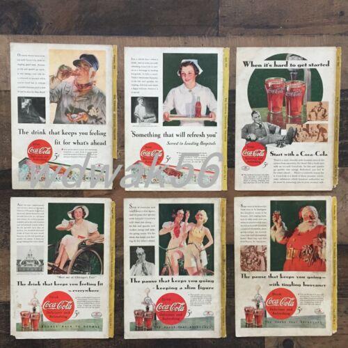1934 COMPLETE Set of 6 NATIONAL GEOGRAPHIC MAGAZINE COCA-COLA COKE ADS
