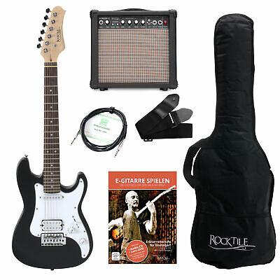 Pack Guitarra Electrica 3/4 Negro el Niño Junior Set Amplificador Funda Correa