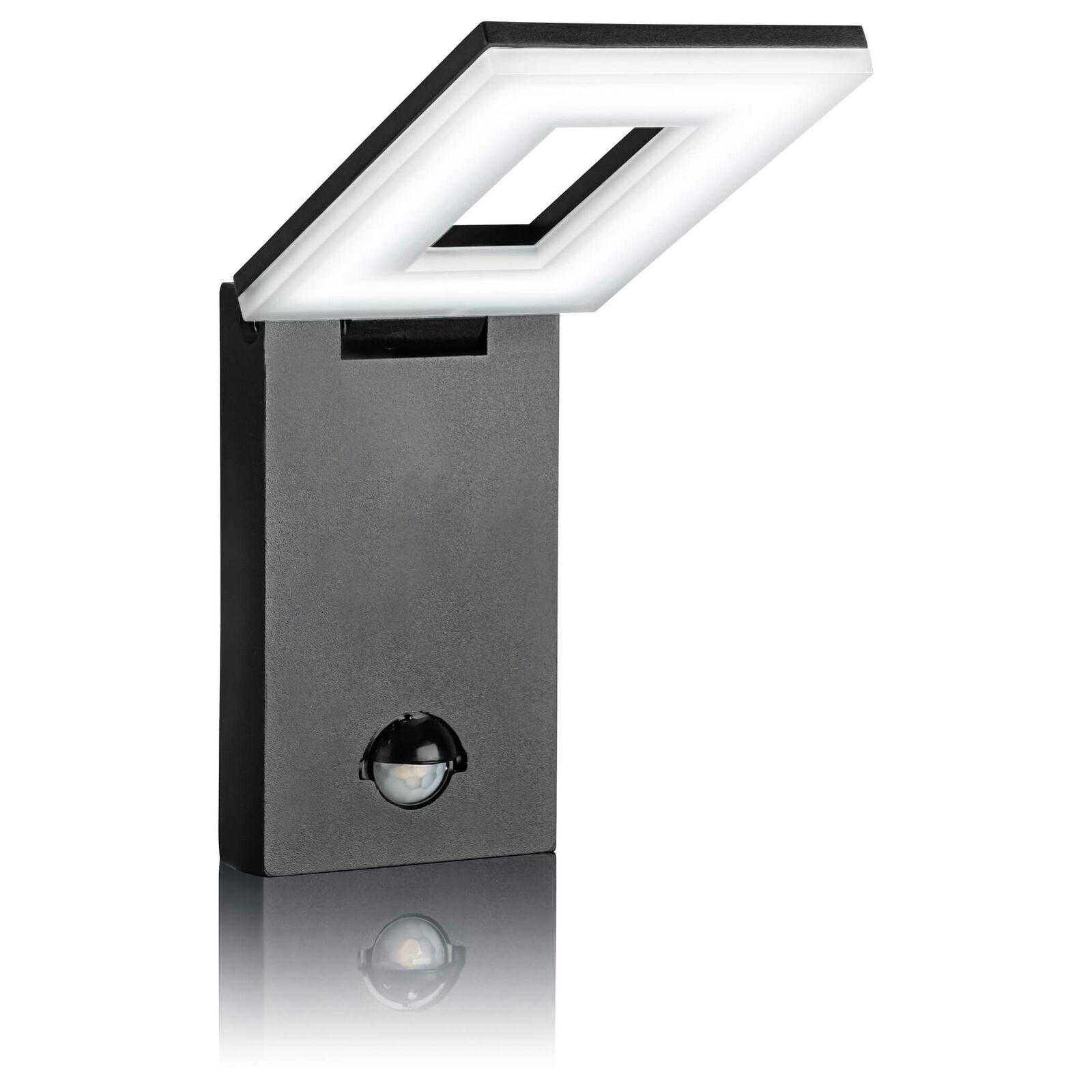 LED Aussenleuchte mit Bewegungsmelder, Wandleuchte schwarz, Aluminium SEBSON