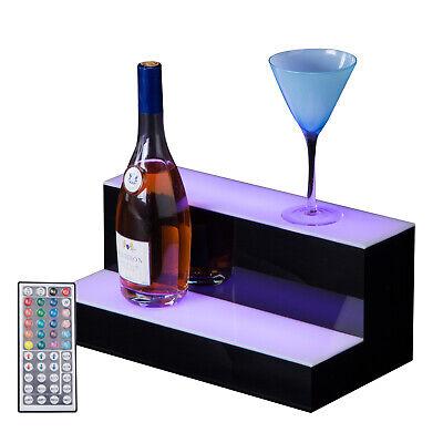 2 Step Tier 16 Led Lighted Back Bar Glowing Liquor Bottle Display Shelf