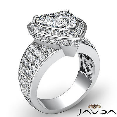2.5 ct Halo Pave 14k White Gold Heart Diamond Engagement Bridal Ring I SI1 GIA 1