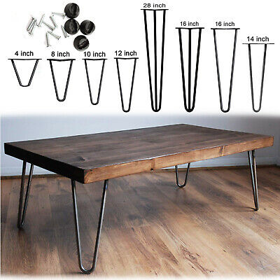 4 x Hairpin Legs / Hair Pin Legs Set for Furniture Bench Desk Table Metal Steel