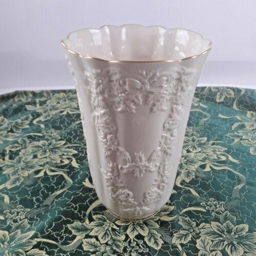 "Lenox Holiday Hostess Collection Cream Gold Trim 10.5"" Tall Vase USA"
