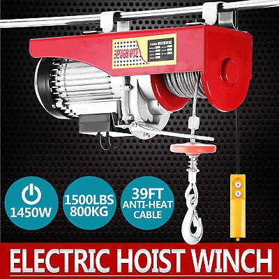 1500Lbs Electric Hoist Winch Lifting Engine Crane High Carbon Cable Steel GOOD for sale  Shipping to Canada