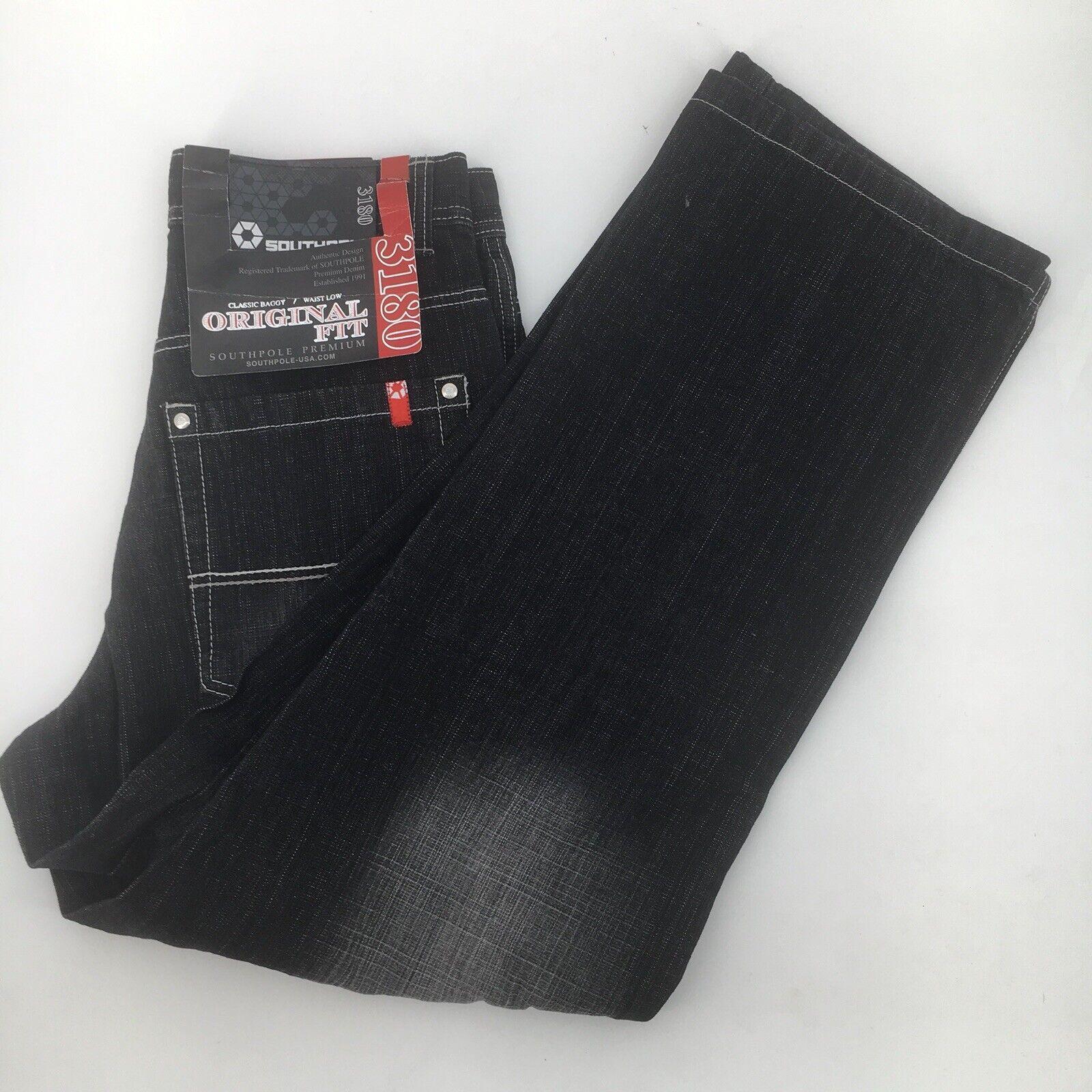 Southpole Black Denim Jeans Mens size 29 x 30 Baggy Hip Hop